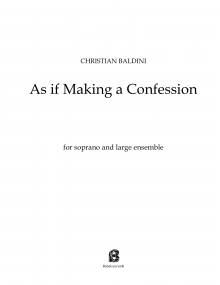 As if Making a Confession FULL SCORE Baldini